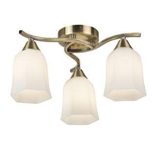 Klasyczna lampa sufitowa Alonso - Endon Lighting - złota, mleczne szkło