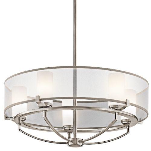 Klasyczna lampa wisząca Astoria - modern classic - srebrna, szklana