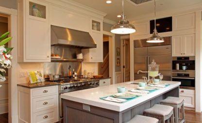 lampa wisząca w stylu industrialnym, srebrny klosz i metalowe detale - aranżacja kuchnia