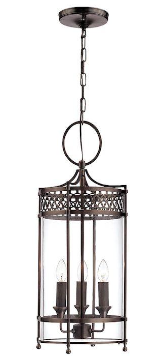 lampa wisząca w klasycznym stylu, inspirowana tradycyjnym lampionem, przezroczyste szkło, brązowa rama