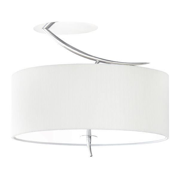 elegancki plafon z białym, zamkniętym kloszem