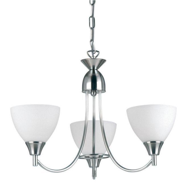 srebrny żyrandol klasyczny, klosze z mlecznego szkła