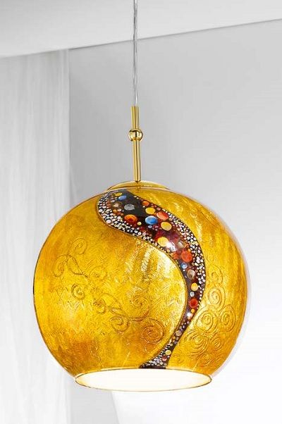 Lampa wisząca - LUNA KISS M - Kolarz - powlekana 24 karatowym złotem