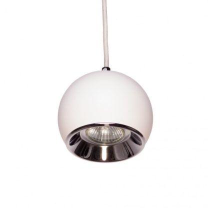 biała lampa wisząca w kształcie kuli