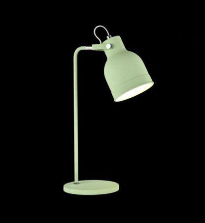 zielona lampa stołowa z ruchomym metalowym kloszem