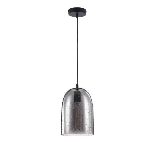 szklana lampa wiszaca z kroplami wody z żarówką edisona