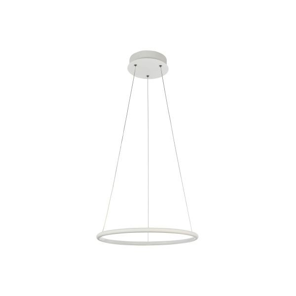 lampa wisząca z koła ledowego biała na linkach stalowych