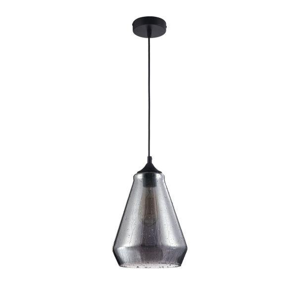 lampa wisząca na czarnej ścianie - szklana z żarówką edissona
