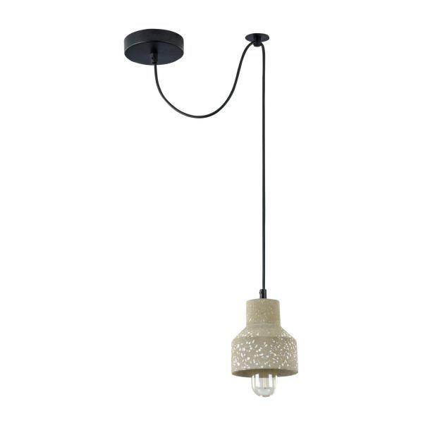 betonowa lampa wisząca z białymi kamyczkami