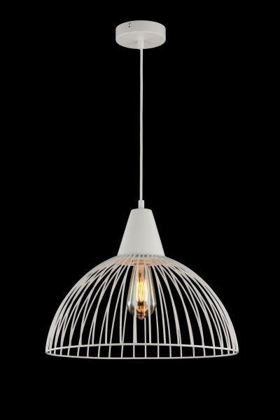 duża biała lampa wisząca z drutów i żarówką designerską