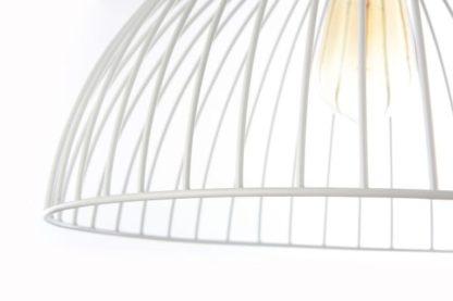 druciana lampa wiszaca biała z dużym kloszem