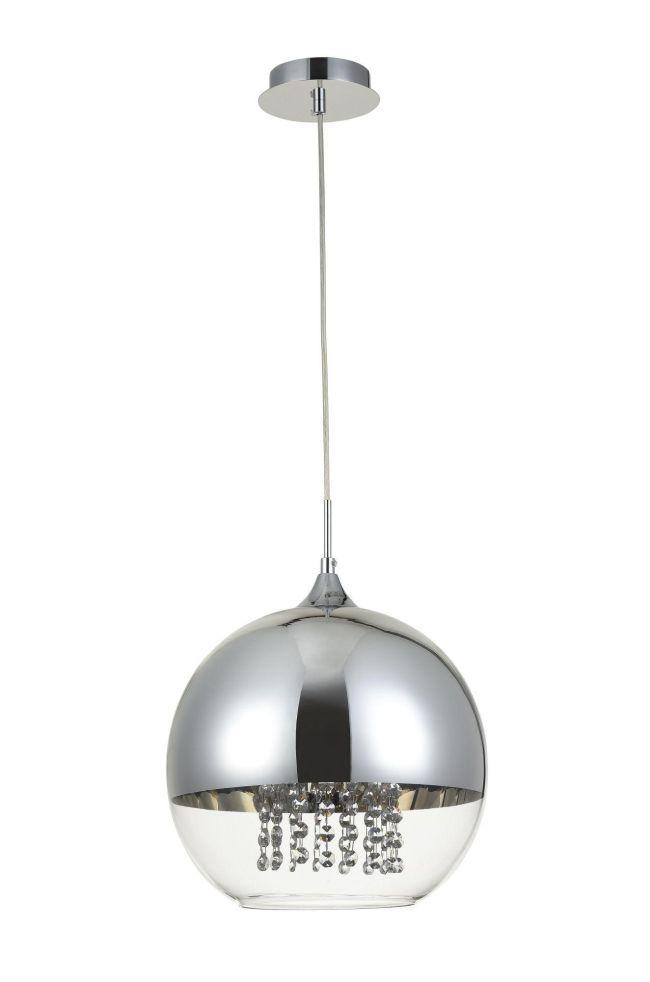 szklana kula srebrna z kryształami - lampa wisząca