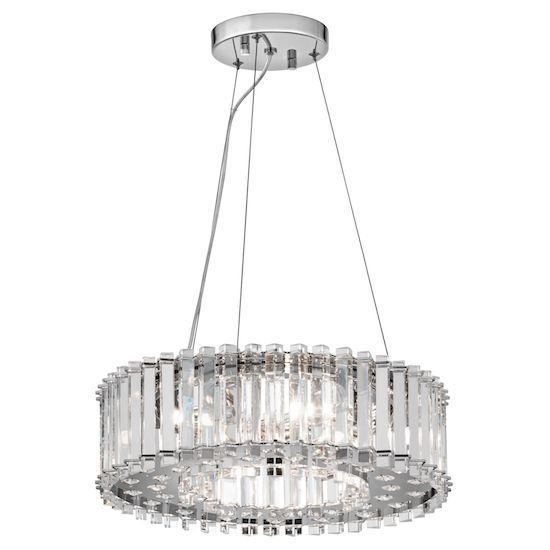 kryształowa lampa wisząca, okrągła - aranżacja nowoczesna jadalnia