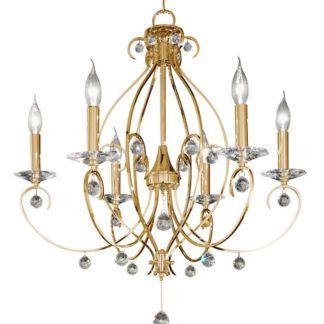 Kryształowy żyrandol CARAT Crystal - złoty, kryształ PURE - Kolarz