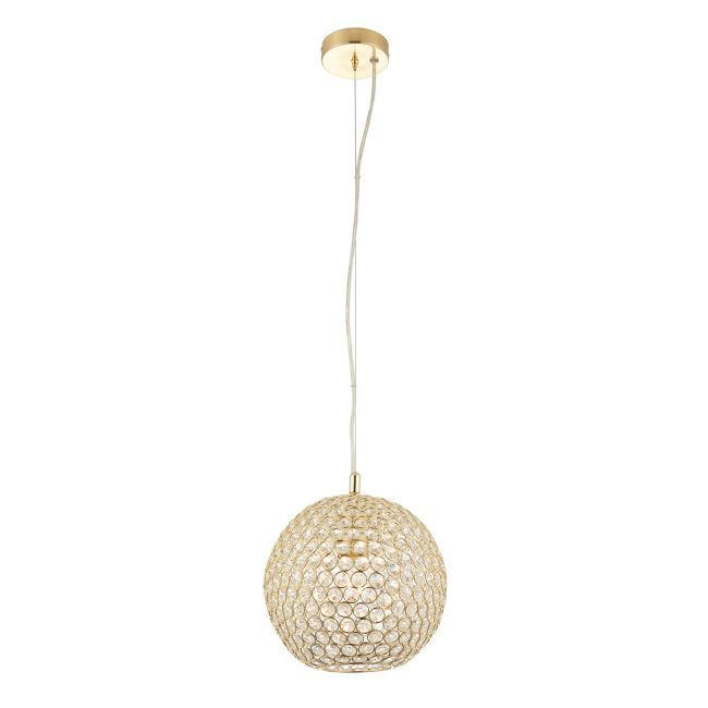Kulista lampa wisząca - Claudia - Endon Lighting - złota, szkło