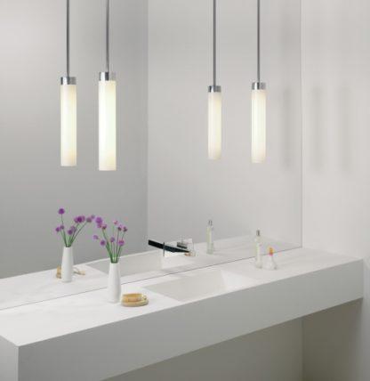 lampa wisząca do łazienki, podłużny klosz ze szkła
