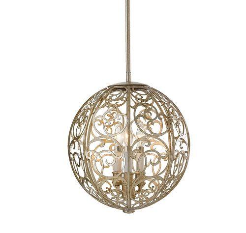 kulista lampa wisząca, klosz w ażurowy, metalowy wzór arabeski