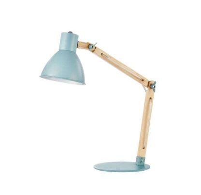 Lampa biurkowa Apex - Maytoni - metal, drewno, błękitna