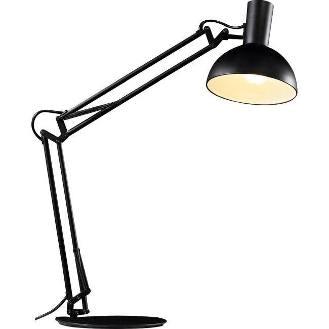 czarna lampa kreślarska w industrialnym stylu