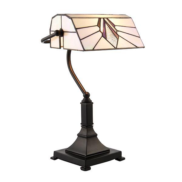 witrażowa lampa biurowa o podłużnym szklanym kloszu