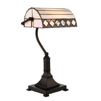 Lampa biurkowa Fargo - Interiors - szkło, brązowa podstawa