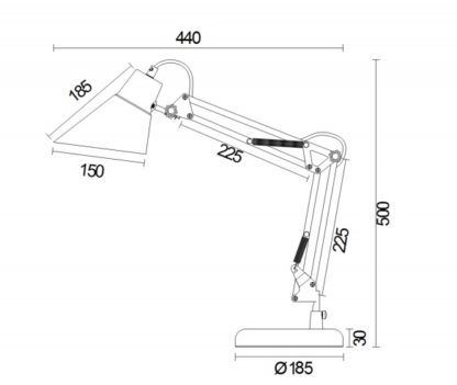 funkcjonalna lampa stołowa do pracy lub nauki z ruchomym ramieniem