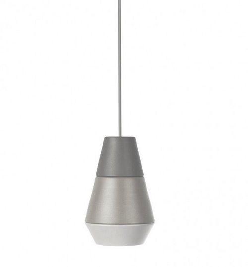 lampa wisząca w odcieniach szarości, mały klosz, styl nowoczesny - aranżacja