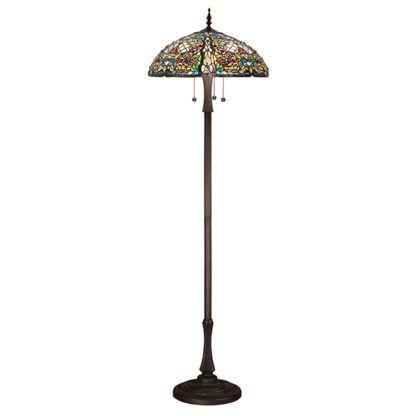 Lampa podłogowa Tiffany - Anderson - Interiors - szklany klosz