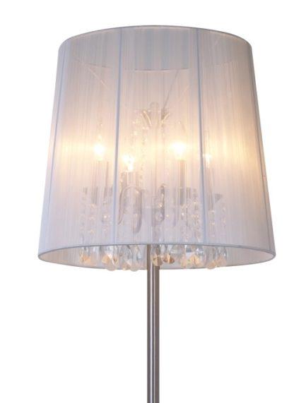lampa podłogowa w stylu glamour, delikatny abażur wewnątrz kryształki