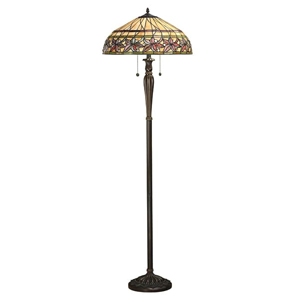 Lampa podłogowa Ashtead witrażowa - Interiors - brązowa podstawa