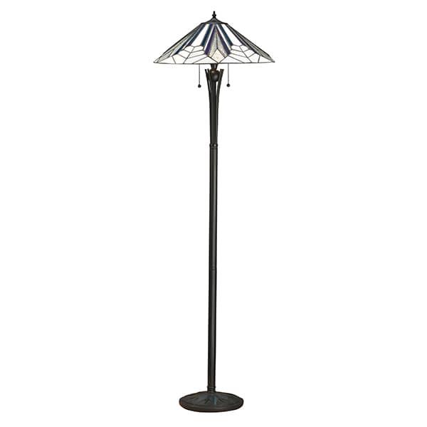 Lampa podłogowa Astoria - Interiors - szklana, czarna podstawa