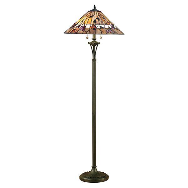lampa podłogowa z masywna brązowa podstawą i wzorzystym kloszem