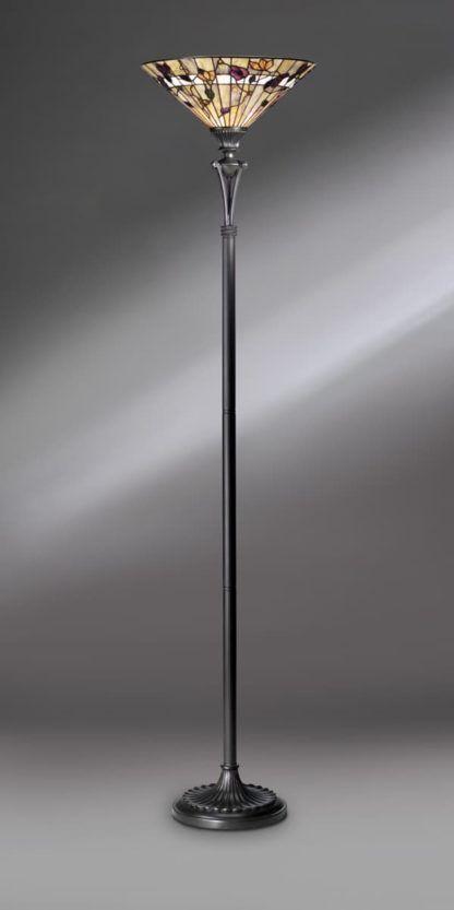 lampa podłogowa z obróconym górze szklanym kloszem