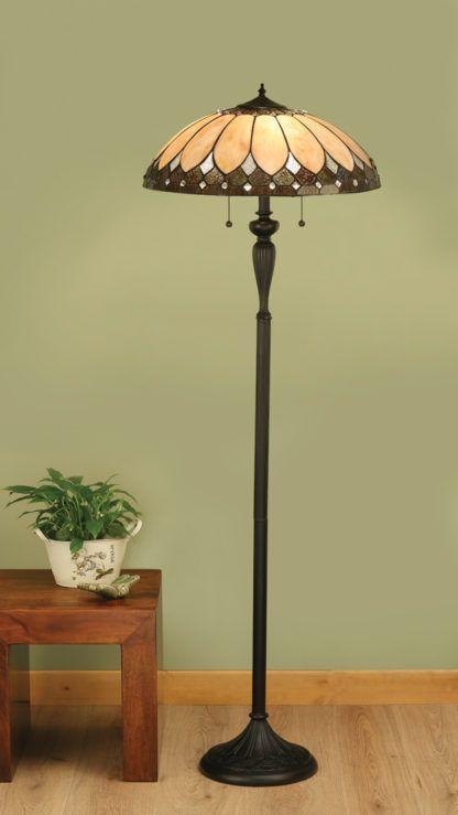 Witrażowa lampa podłogowa Brooklyn - Interiors - szkło Tiffany