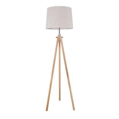 Lampa podłogowa na trójnogu Calvin - Maytoni - tripod, beż, drewno