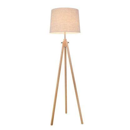 nowoczesna lampa podłogowa o podstawie trójnogu wykonanym z drewna