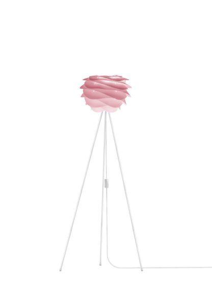 nowoczesna lampa podłogowa, biała podstawa i klosz pastelowy róż ombre