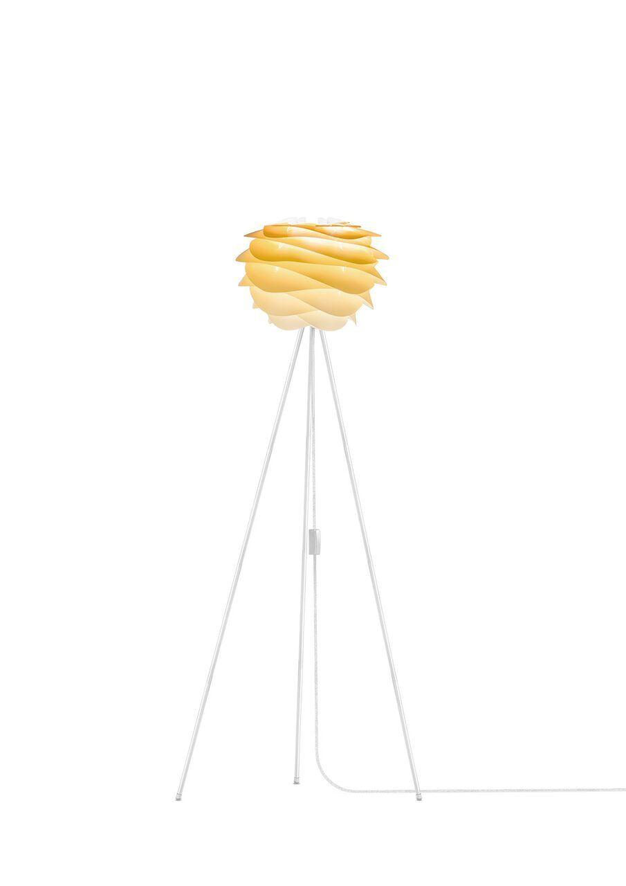 lampa podłogowa z czarnym trójnogiem, nowoczesny klosz w odcieniach żółtego