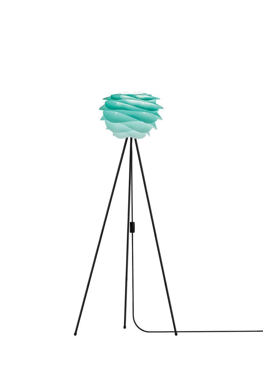 lampa podłogowa nowoczesna, biała podstawa trójnóg, klosz turkusowy ombre, pastelowy