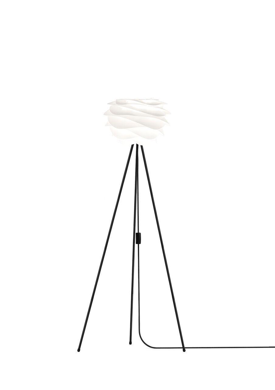 lampa podłogowa cała biała, podstawa w formie trójnogu