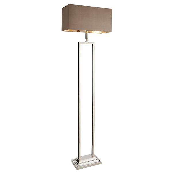 minimalistyczna lampa podłogowa o srebrnej prostokątnej podstawie