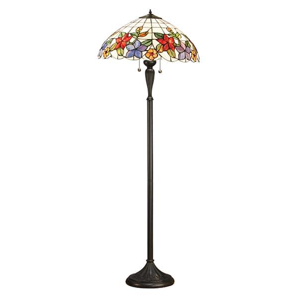 klasyczna lampa podłogowa w kolorze brązowym z kolorowym szklanym kloszem