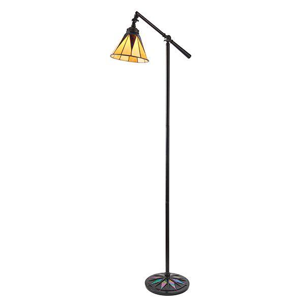 brązowa lampa podłogowa z szklanym regulowanym kloszem
