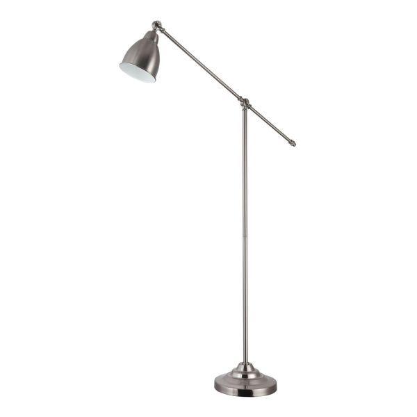 srebrna lampa podłogowa łamana z kloszem regulowanym