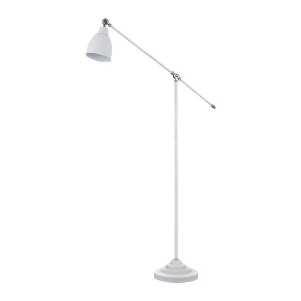 lampa podłogowa biała matowa z kloszem regulowanym
