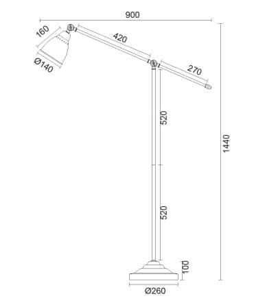 wymiary lampy podłogowej