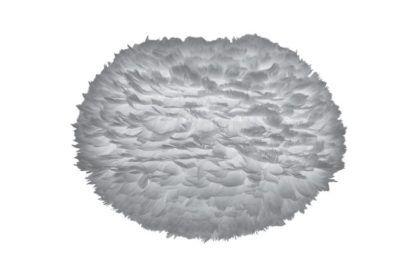 lampa podłogowa z dużym kloszem, szara kula z naturalnych piór gęsi