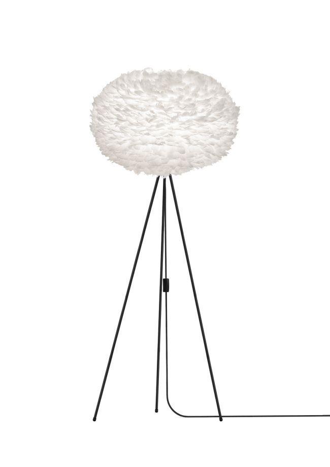 duża lampa podłogowa z okrągłym kloszem z piór, cała biała, styl nowoczesny