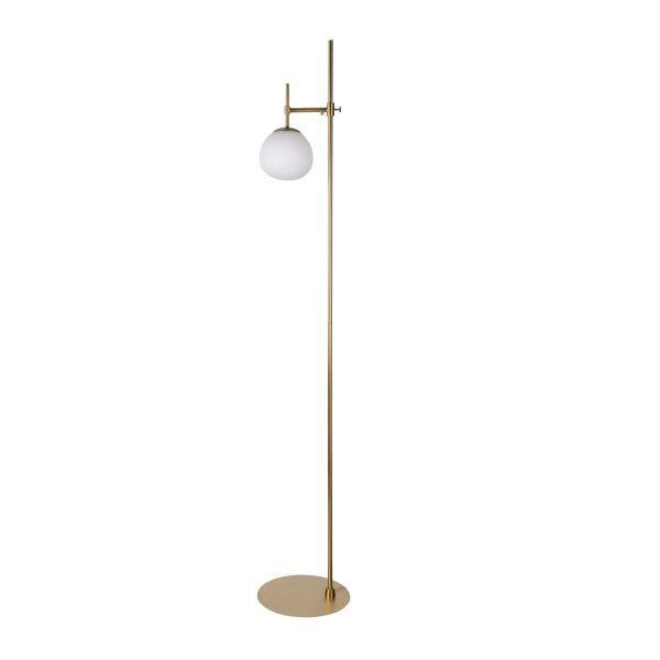 lampa podłogowa z cienką nogą złota i szklaną kulą