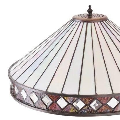 lampa podłogowa z pastelowym szklanym kloszem Tiffany